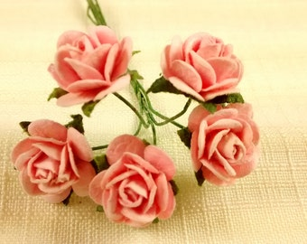 FF-104, Miniature Pink Blush Paper Roses-Sweet