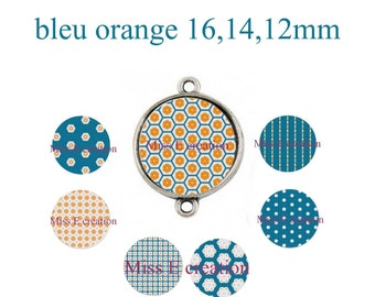 orange blue 16mm and 14mm and 12mm round cabochon digital collage sheet