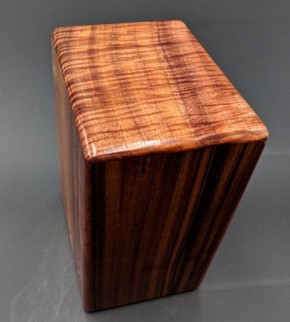 """Large Curly Hawaiian Koa Wooden Memorial Cremation Urn... 7""""wide x 5""""deep x 9""""high Wood Adult Cremation Urn handmade in Hawaii LK031018-A"""