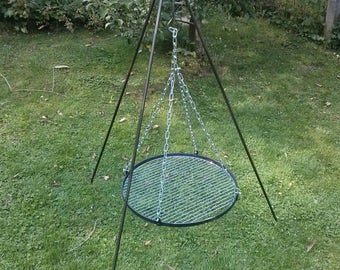 Hand forged outdoor cooking tripod