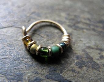 loki hoop-- supervillain nose ring or hoop earring-- handmade by thebeadedlily