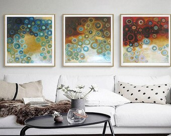 teal blue and copper abstract painting, triptych art trendy modern artwork, abstract art prints contemporary home, modern art square 24x24