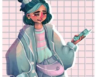 Retro girl Illustration Art Print