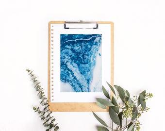 Blue Rivers Collide Printable Art Print, Fluid Art, Instant Download