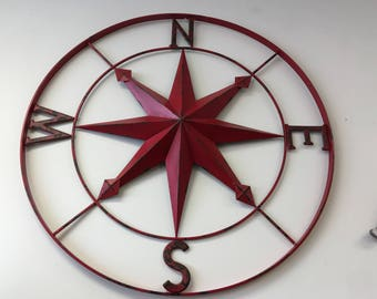 """30"""" compass rose red or sea foam green"""
