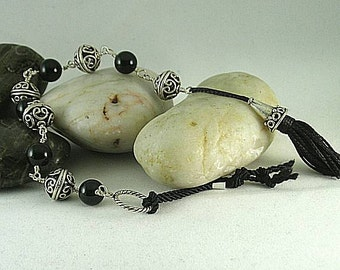 Onyx or Coral - Silver Tenner with Cone Tassel - Chaplet - Paternoster