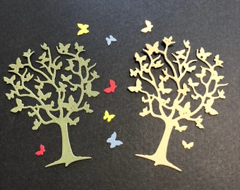 """2 Trees with 8 Butterflies, Handmade, Light Brown, Green, 3 3/4"""" x 2 3/4"""", Sizzix,"""