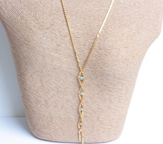 Braided Chain Tassel Necklace Turquoise Bead Gold  Retro Necklace Vintage