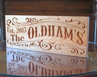Personalized Last Name Wood Sign, Wedding Established Sign, Mr Mrs Wood Sign, Lake House Sign, Benchmark Custom Signs, Cherry SS