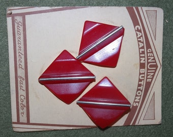 Fabulous Vintage Red Catalin Buttons on Original Card- Guaranteed Color Fast