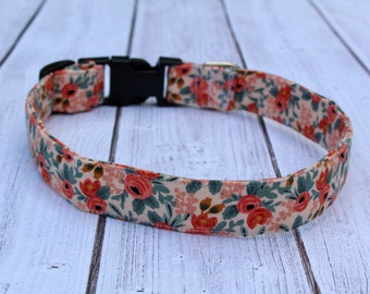 Coral Floral Dog Collar - Designer Dog Collar - Colorful Dog Collar - Harness - Girl Dog Collar - Personalized Collar - Comfortable Collar