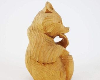Vintage Holz Bär-Skulptur