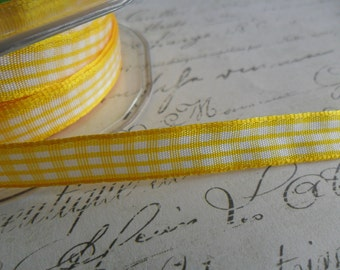 Yellow Gingham Ribbon  3/8 wide