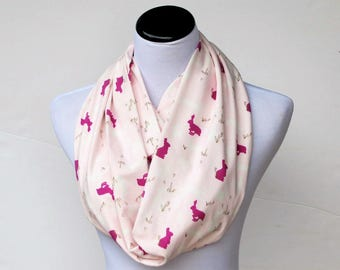Pink Purple Bunny Scarf Easter scarf, bunny scarf pastel pink infinity scarf purple white bunny loop scarf