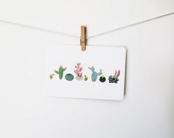 Watercolor Cactus Art Postcard - cacti, watercolor, botanical, succulents, gouache, painting, nature