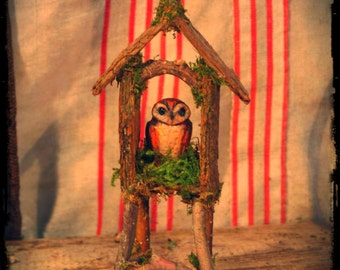 Owl Miniature in Clay With Bark and Twig House Custom Order, owl, shrine, altar, witchy, barn owl, miniature animal, woodland