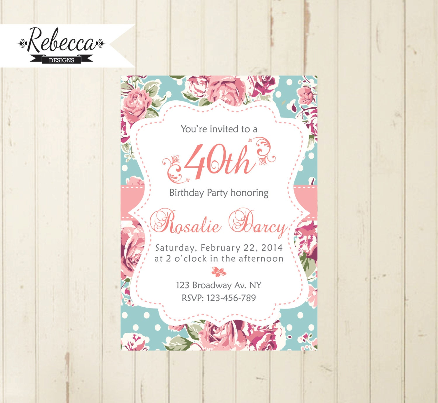 Floral birthday invitation cottage chic party tea party