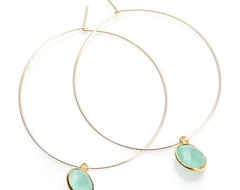 Gold Filled Hoops with Aqua Chalcedony Stone Drops - EG02