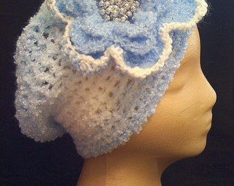 Airy Blue & White Hat w/ Beaded Detachable Fascinator