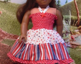 Stars and Stripes Shirred Sundress with Hat and Shoes for American Girl Doll