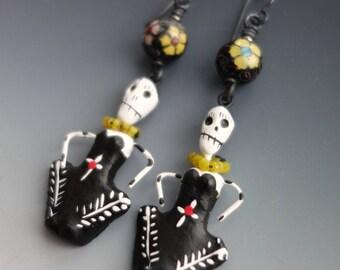 Antique Chinese Cloisonne Skeleton Earrings