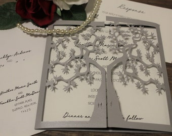 Tree Gatefold With Initials in Trunk - Wedding Invitation - Choose Your Colors - Customize Your Own
