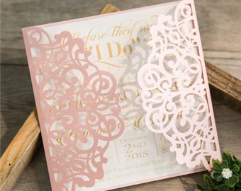 Laser cut belly band glitter invitation wrap for wedding diy laser cut invitations pockets only square laser cut invites for wedding quince solutioingenieria