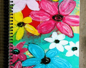 """Tropical Flowers 5.5"""" x 8.5"""" Lined Coil Bound Notebook, Journal, Diary, Stationery, Wholesale Notebooks"""