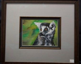 Original Lemur Watercolor Painting