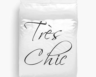 Paris Bedroom Decor, Tres Chic Duvet Cover, Queen Duvet Cover, Paris Bedding, Fashion Decor, Girls Bedroom Decor, Black and White Bedding