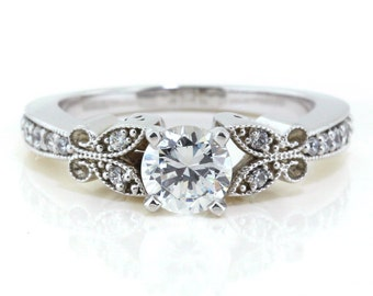 Butterfly Moissanite Engagement Ring Setting - No Center