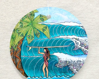 Surfer Girl surf art Glass Ornament & Suncatcher, surfing gifts,palm trees, waves