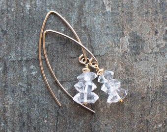 Herkimer Diamond Earrings in Silver or Gold, April Birthstone, Gemstone Dangle Earrings, Handmade Jewellery, Crystal Quartz Jewelry