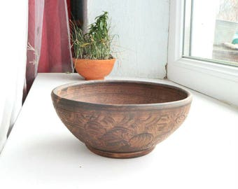 Ceramic bowl handmade, organic clay bowl, ceramic serving bowl, clay dish, pottery plate, platter