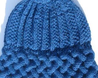 Knit Alpaca and Wool Hat for Men or Women, Handmade Beanie, Blue Winter Hat