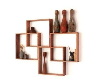 4 Shadow Box display cabinet to display your treasures. Wall hanging shelf / shelves solid wood art retro modern vintage handmade industrial