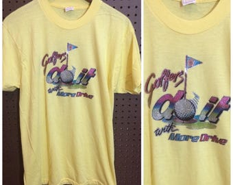 """1970s """"Golfers Do It With More Drive"""" Shirt Vintage Men's Medium / Women's Large Iron-on Transfer"""