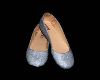 Wedding shoes Silver wedding shoes silver shoes silver flats silver flat shoes bridal shoes silver shoes custom shoes glitter shoes