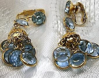 Light Sapphire and Gold Clip-On Earrings, Blue Crystal Earrings, Dangle Earrings, Light Blue Rhinestone Earrings, 1950's, Cluster Earrings