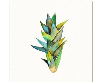 Botanical Art Print. Living Room Plant Watercolor Art. Botanical Wall Art. Tropical House Plant Painting. Green Plant Artwork. Kitchen Decor