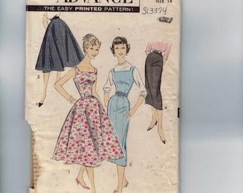 1950s Vintage Sewing Pattern Advance 8509 Misses Jumper Dress Slim or Full Skirt Size 14 Bust 32 50s