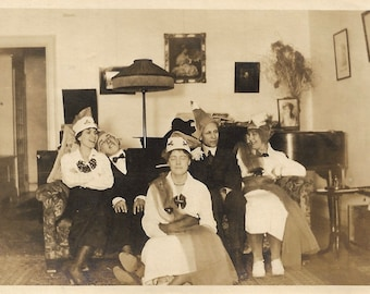 "Vintage Snapshot ""A Good Time Was Had By All"" Party Animals Wear Funny Hats & Fur Stoles 1920's Found Vernacular Photo"