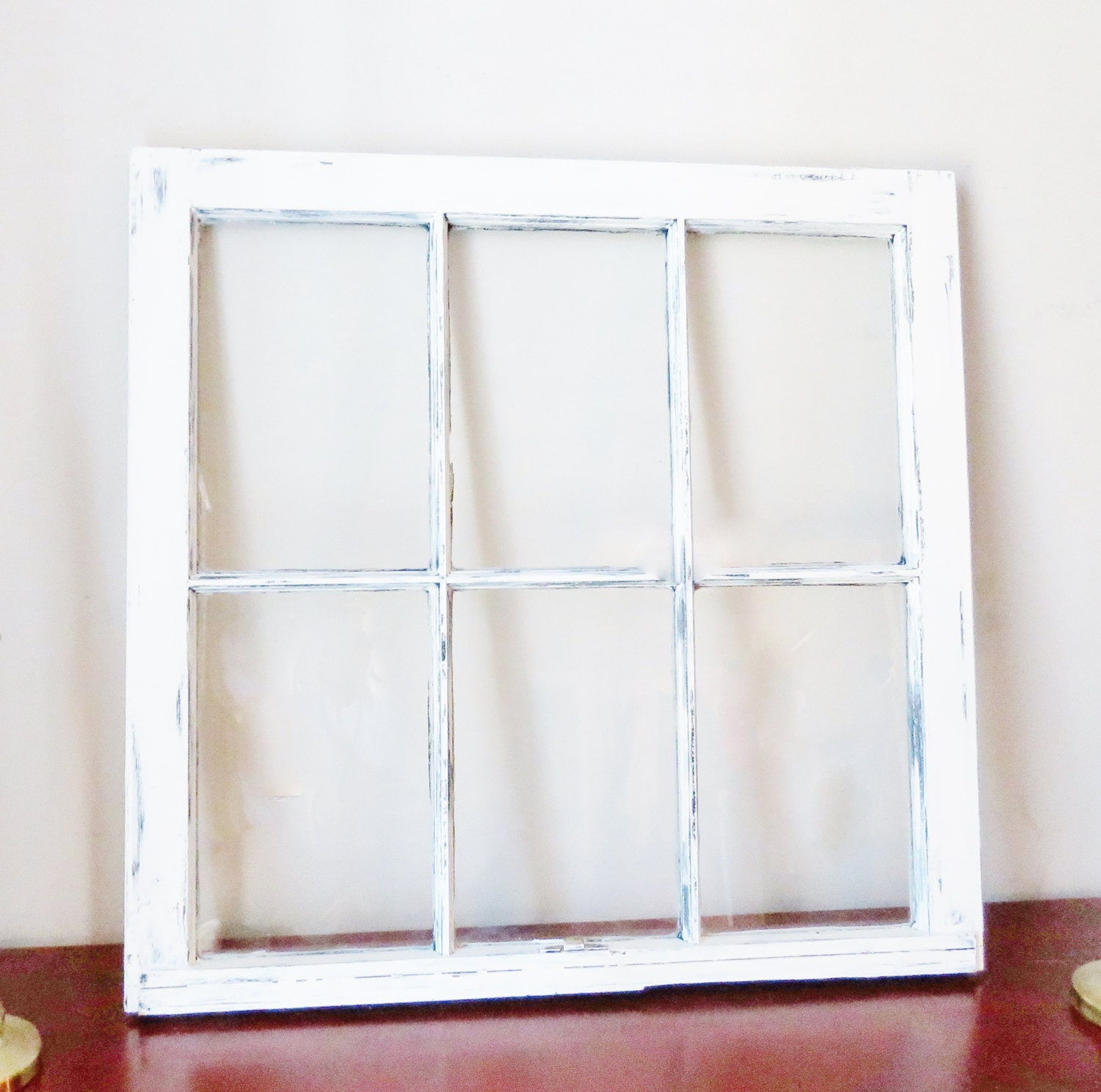 white distressed frame -Wood window picture frame 6 pane vintage ...
