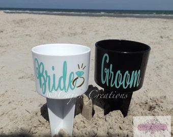 Beach Spiker, bride gift, groom gift, beach wedding, personalized bride groom spiker, bridesmaid gift, groomsmen gift, honeymoon gifts