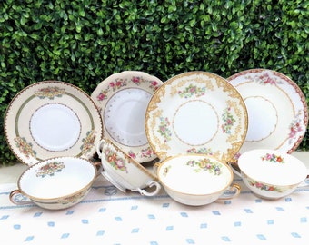 Set of 4 Vintage Mismatched Fine China Cream Soup Bowls and Liners, Cups with Handles and Underplate Saucers, Japan Post-War, SB55