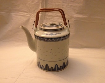 Chinese Porcelain Blue and White Rice Pattern Tea Pot