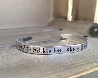 Psalm 46:5 / God Is Within Her She Will Not Fail / Bible Verse Bracelet / Scripture Gift / Encouragement Gift / Gift For Wife / Gift For Her