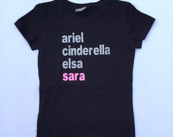 Custom Disney Princess T-shirt, Custom name, Princess Shirt, Custom shirt, Personalized Shirt, Gift for Kids, Gift for Girls, Top for Girls