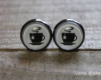 Cup of tea earrings with glass cabochon tea cup sleepers or studs in laiton gun metal