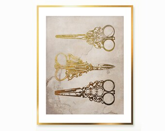 Scissors Antique Print , Gold Metal Scissors Set Digital Print , Antique Steel Filigree Scissors Wall Art Poster ,  Instant Download Print